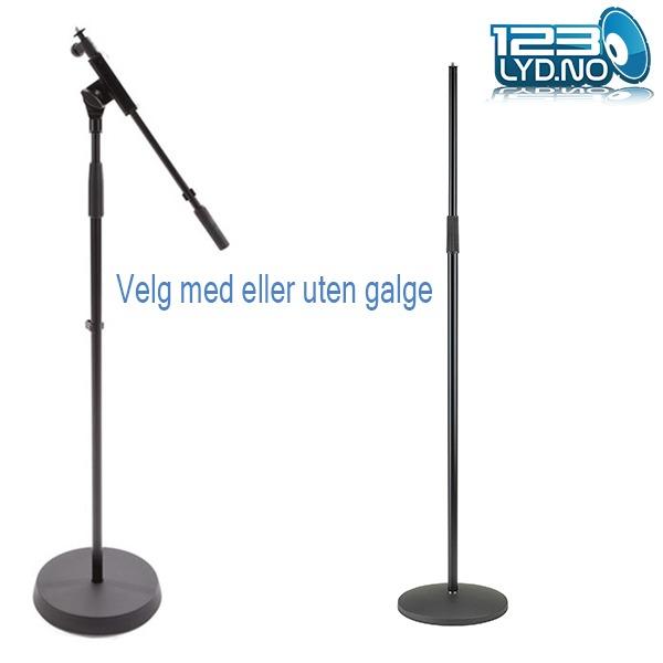 Mikrofonstativ med rund fot med eller uten galge
