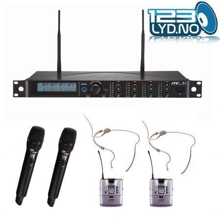 JTS R4 - 2x Håndholdt og 2x Bøyle trådløse mic
